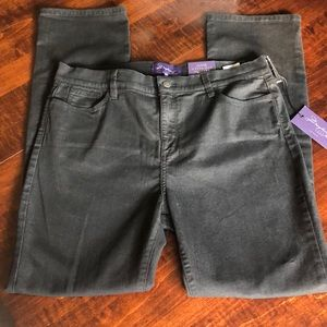 NYDJ Straight Black Denim Jeans Sz 16 NWT